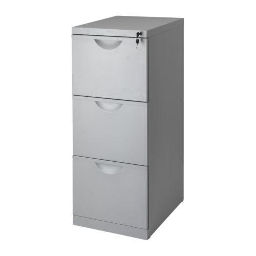 IKEA - ERIK, Armario de archivo, , Cajones para carpetas colgantes; para que te resulte fácil guardar y clasificar tus documentos.Los tres cajones tienen cerradura.Los topes evitan que los cajones se extraigan por completo.