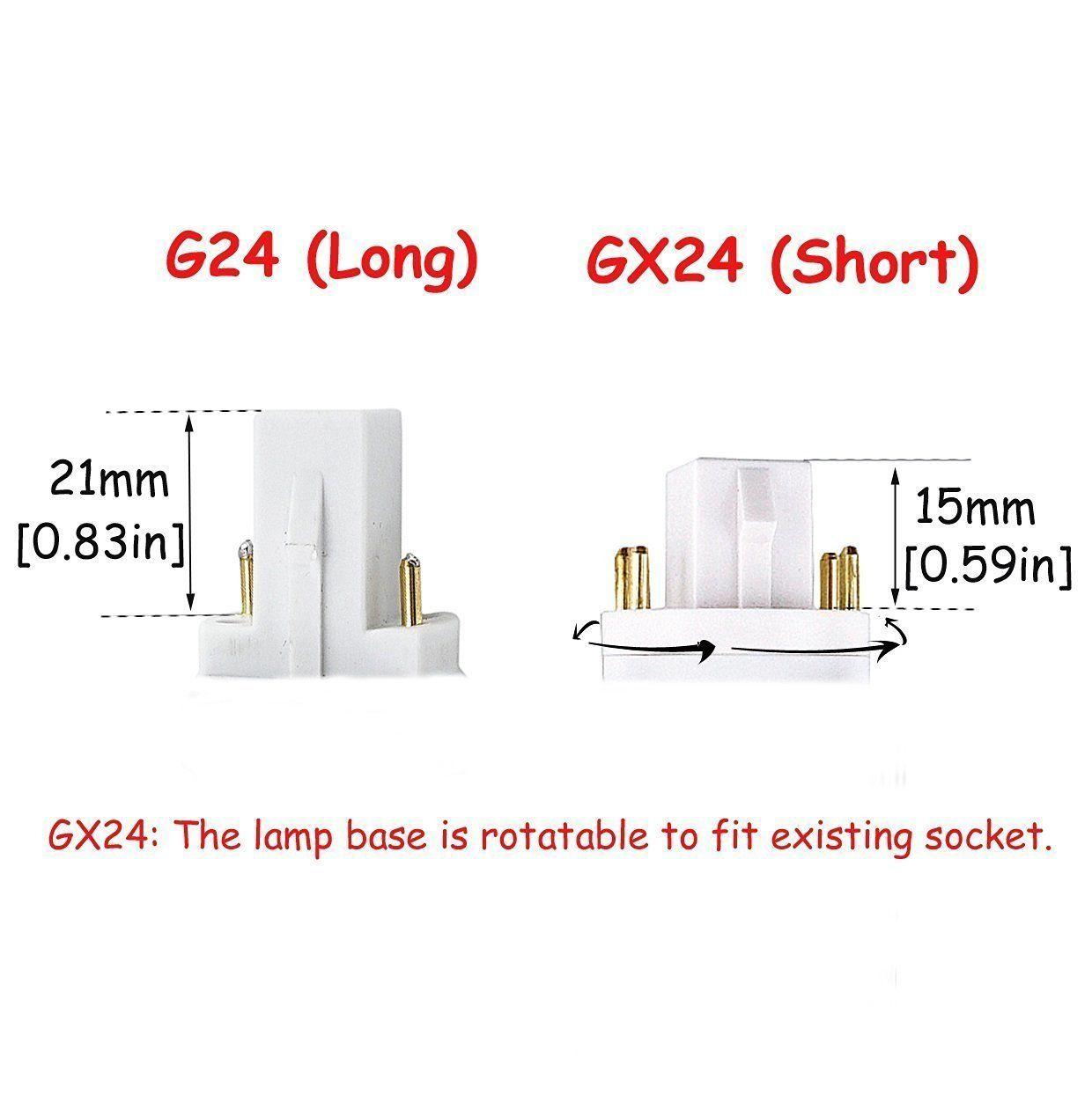 Bonlux 13w G24 Led Plc Lamp Cool White 6000k 360 Degrees Universal G24d 2 Pin G24q 4 Pin Base Led Retrofit Pl Light Bulb 30w Cfl Rep Lamp Bases Light Bulb Lamp