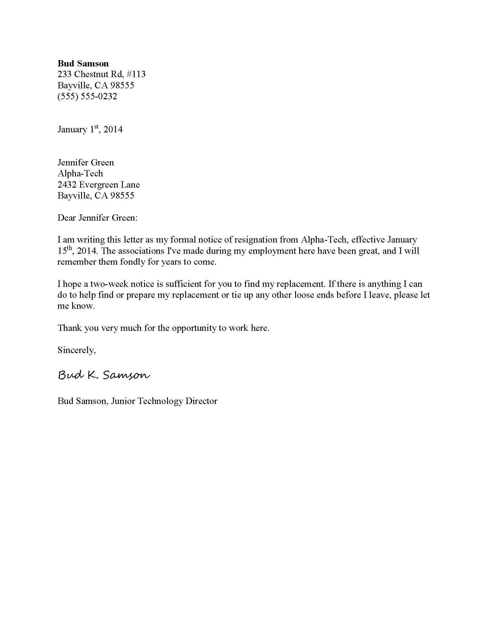 Sample Formal Resignation Letter Template For Quitting Your Job