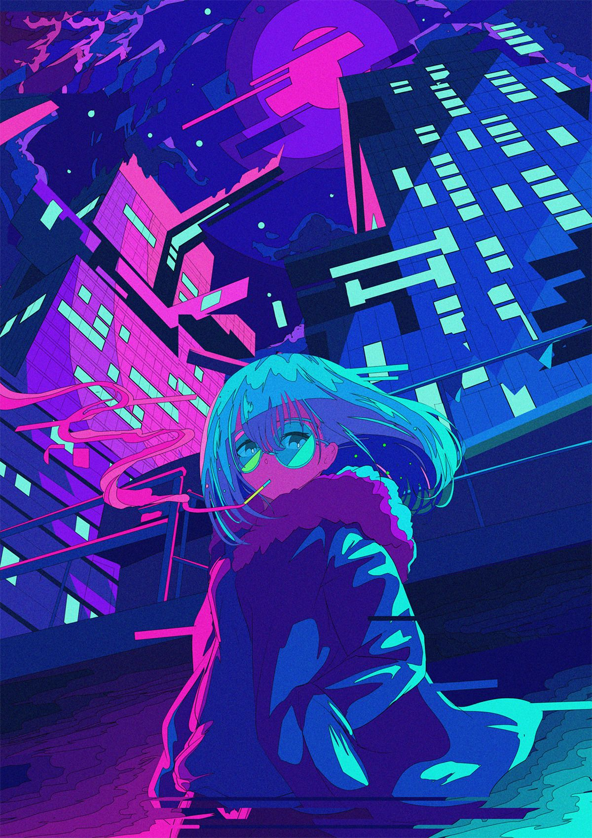 Pin By Tashan On Yeah Yeah Cyberpunk Anime Neon Art Kawaii Art