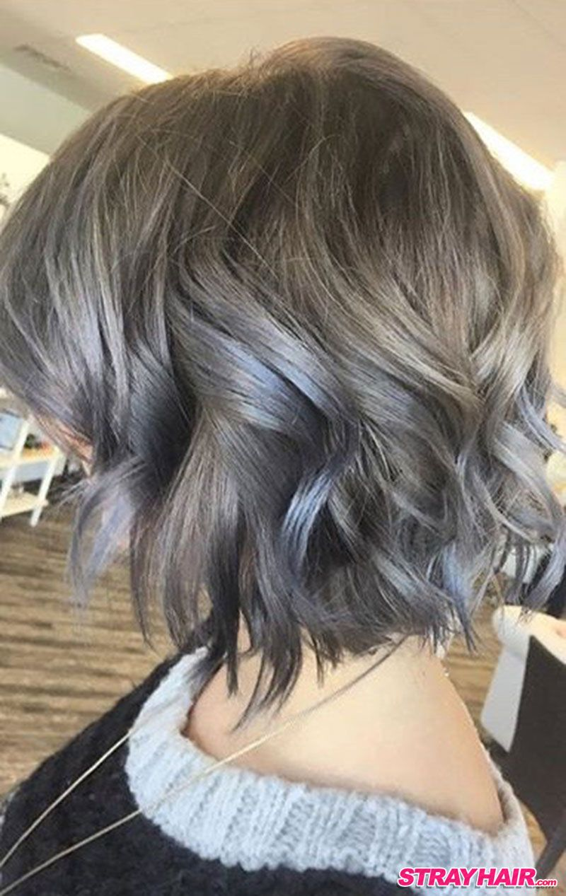 medium length wavy silver gray hair color …   smokey grey in