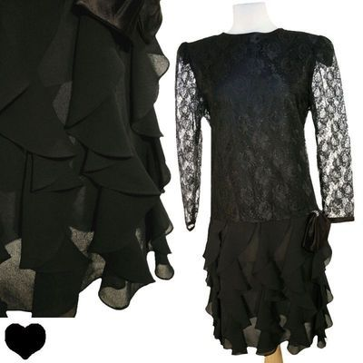 Vintage 80s Black SHEER LACE Ruffled Cocktail Party PROM Dress L Long Sleeves PinupDresses.com PinupDresses