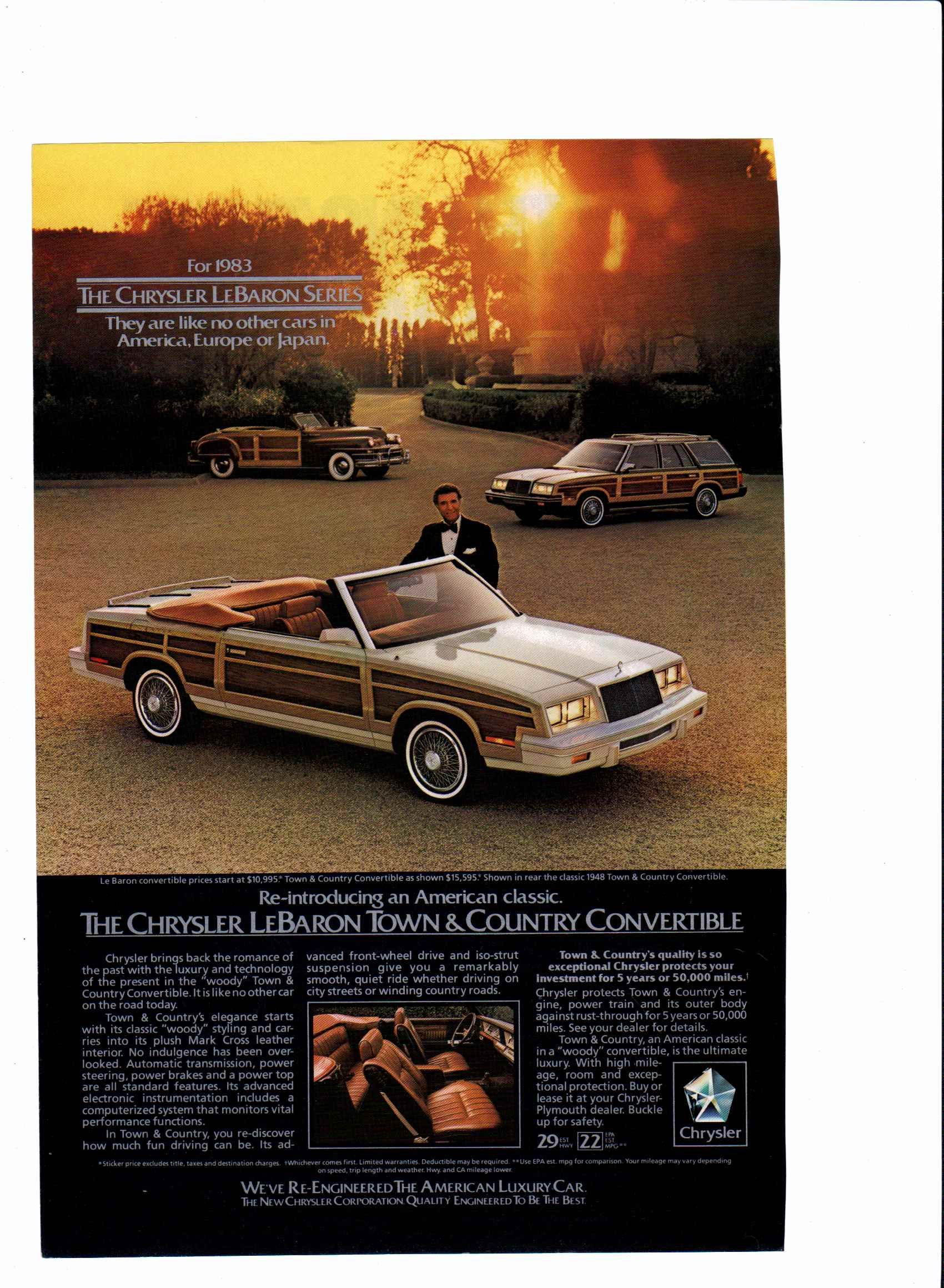 1983 Chrysler Lebaron and Town and Country ad print
