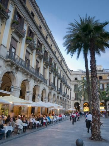 Photographic Print: Placa Reial, Barcelona, Spain Poster by Alan Copson : 24x18in