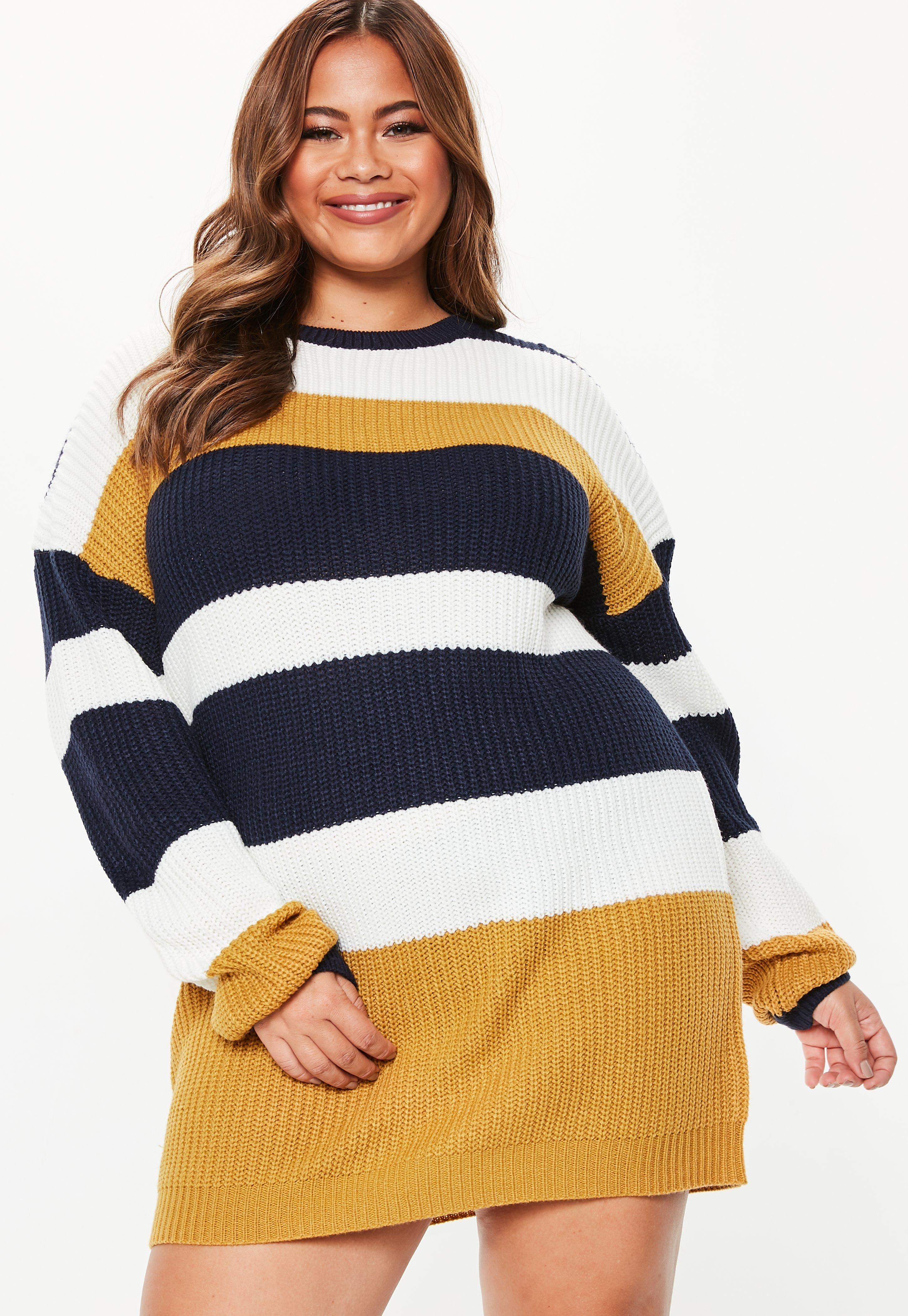 18175b8b365 plus-size-mustard-crew-neck-striped-sweater-dress  sweaters  fashion   sweater  jackets  pants  sweaterweather  hoodies  jeans  dresses  style   winter ...