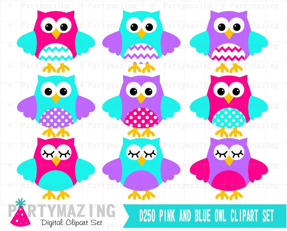 new from partymazing on etsy owl clipart cute owl pink purple and rh pinterest com