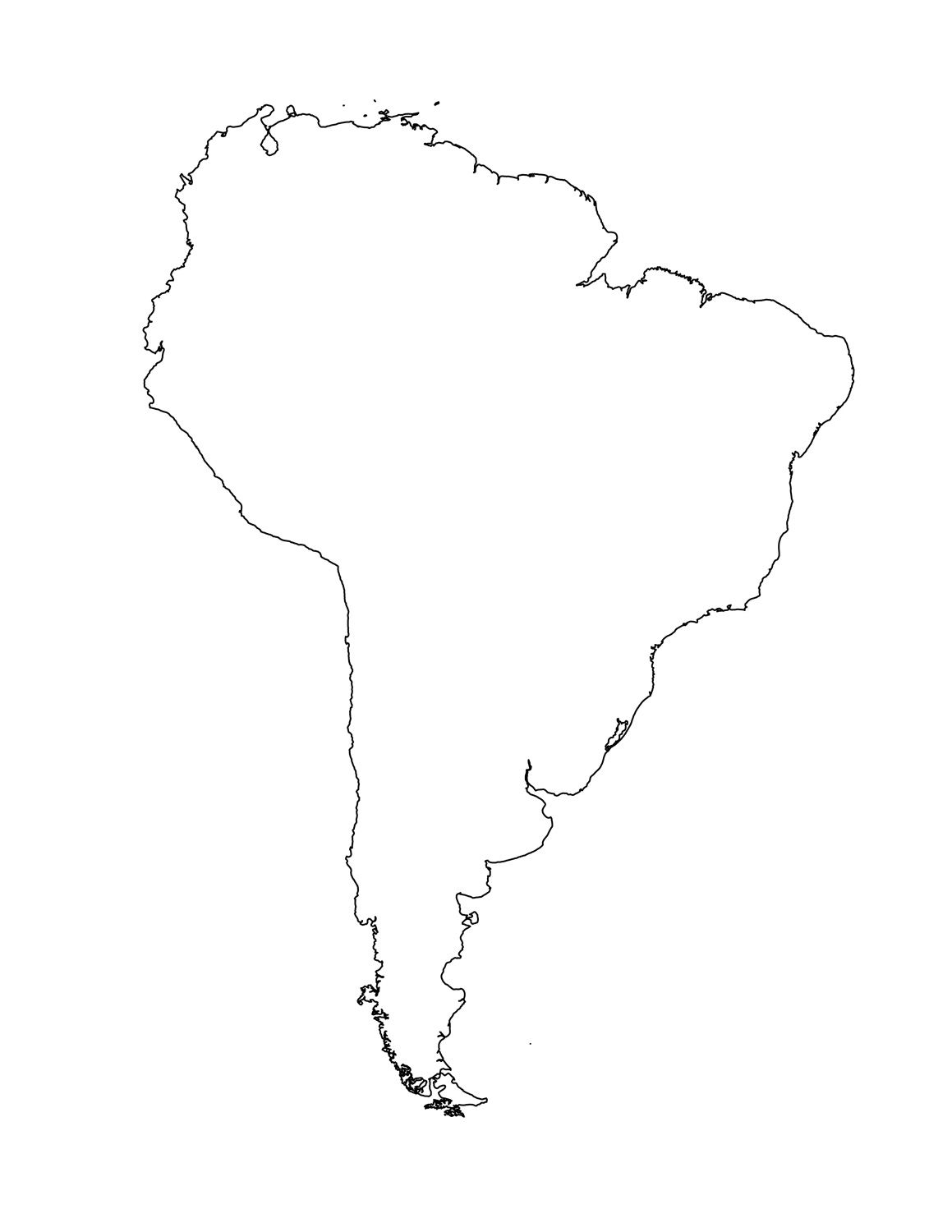 Blank Map Of South America Template South America Continent