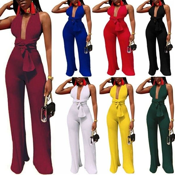 0c777f4b71 Sexy Backless Deep V-neck High Waist Jumpsuit