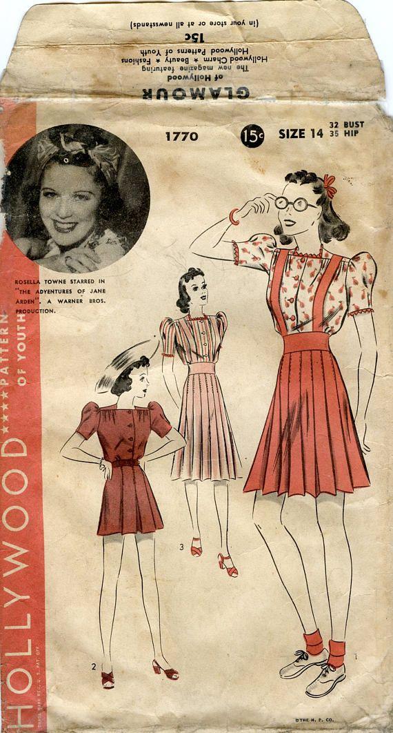 1930s Hollywood Pattern 1770 Misses Shorts Blouse And Etsy Vintage Dress Patterns Vintage Sewing Patterns Basic Dress Pattern