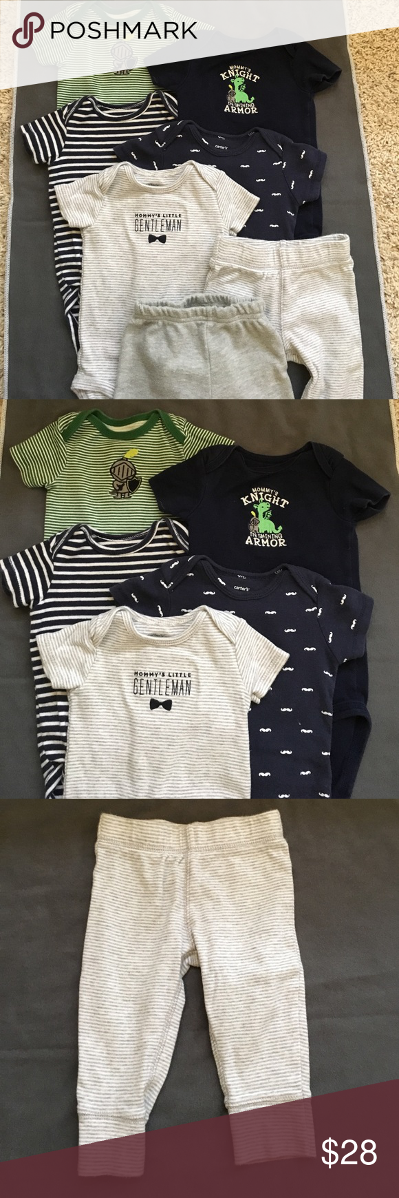 5 onsies and 2 pants 5 onsies in excellent condition and 2 pairs of pant. Onsies are all size 6M. Gray and white striped pants are 9M but fit like 6M and are also in excellent condition. Grey pants with blue ⭐️ on the bum are size 6-9M and look more worn but they still have a lot of life in them! Carter's Other