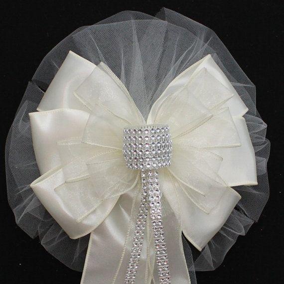 Ivory bling wedding pew bows church aisle decorations wedding ivory bling wedding pew bows church aisle decorations junglespirit Choice Image