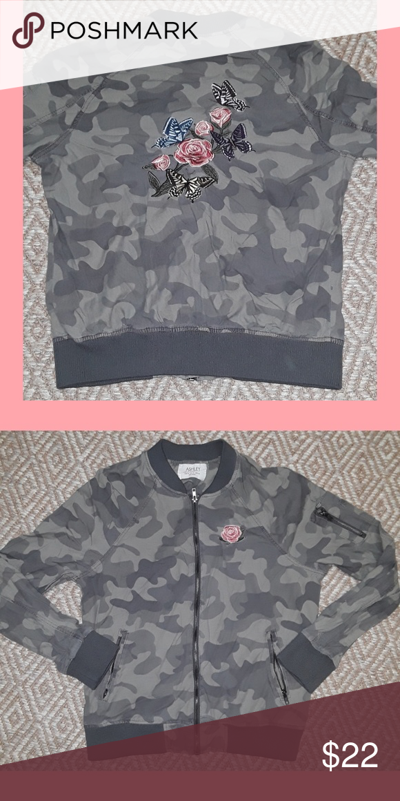 d47d8564452dd Super cute camo jacket with rose embroidery * free gift with every purchase  Ashley By 26 International Jackets & Coats