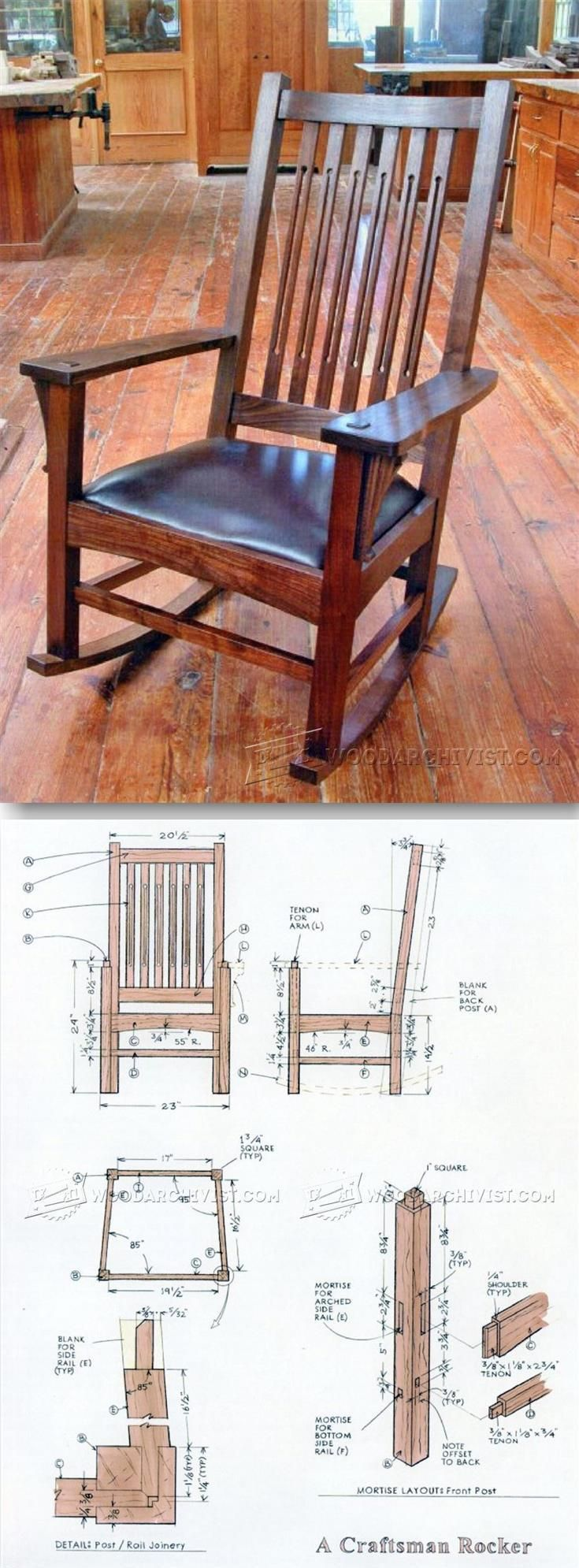 How to make a simple wooden rocking chair - Craftsman Rocking Chair Plans Furniture Plans And Projects Woodarchivist Com
