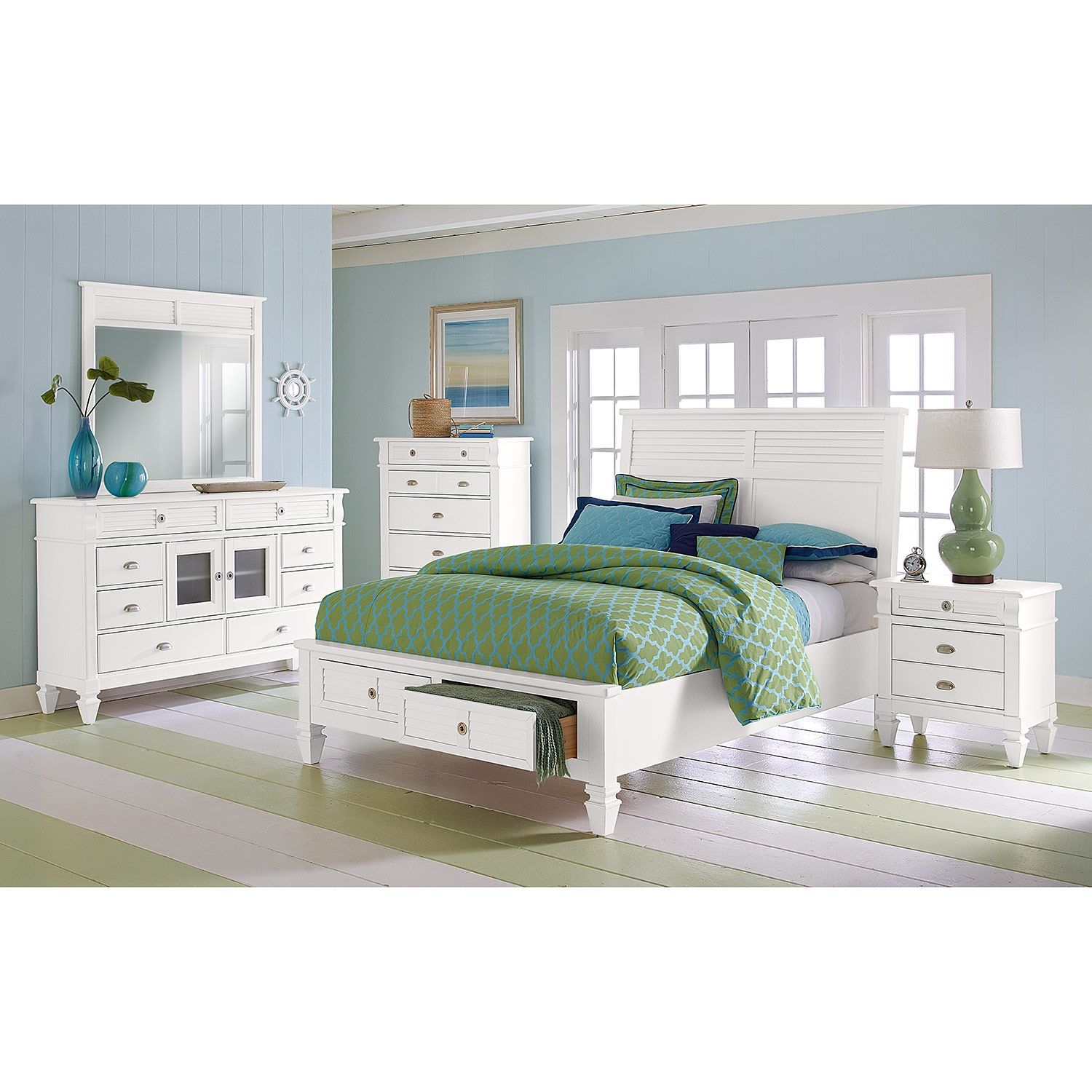 Charleston Bay White Ii Bedroom Queen Storage Bed American Signature Furniture