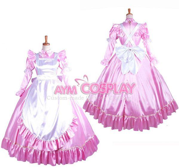 Stunning Hand Made Purple Satin Lockable Maid Uniform with optional petticoats