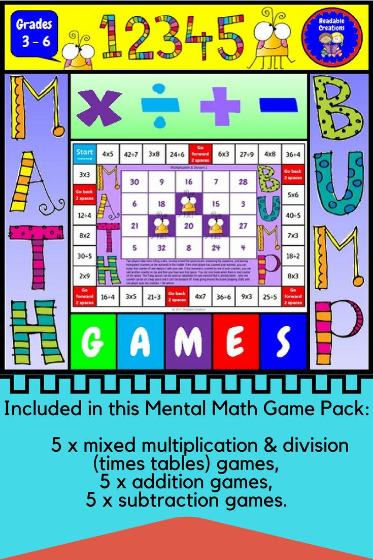 Mental Math Bump Games   Pinterest   Mental maths, Math and Times ...
