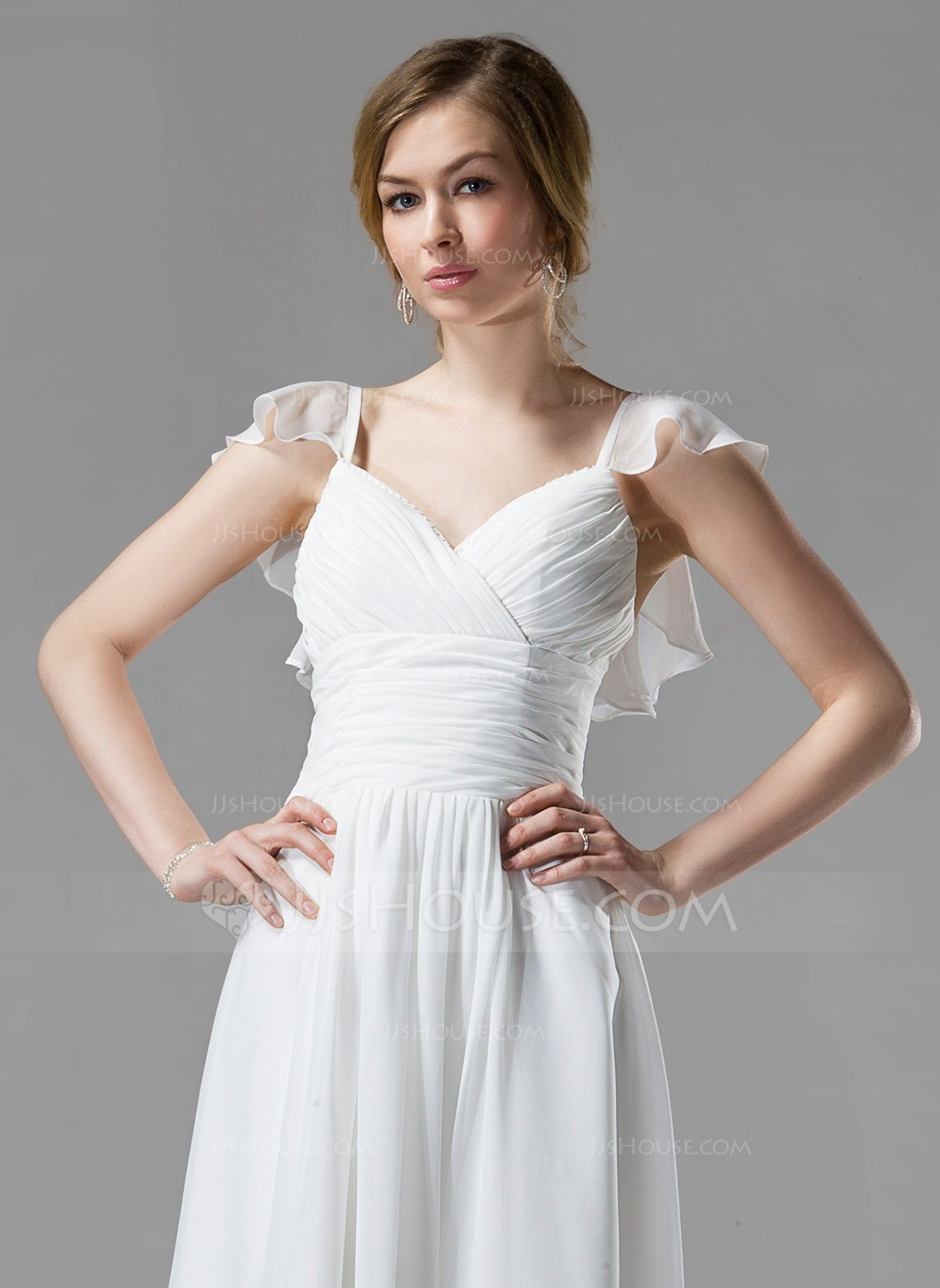 ALine/Princess Vneck KneeLength Chiffon Bridesmaid