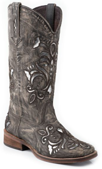 40d2cdef27b Roper Fancy Silver Inlay Cowgirl Boots - Square Toe | Boot scooting ...