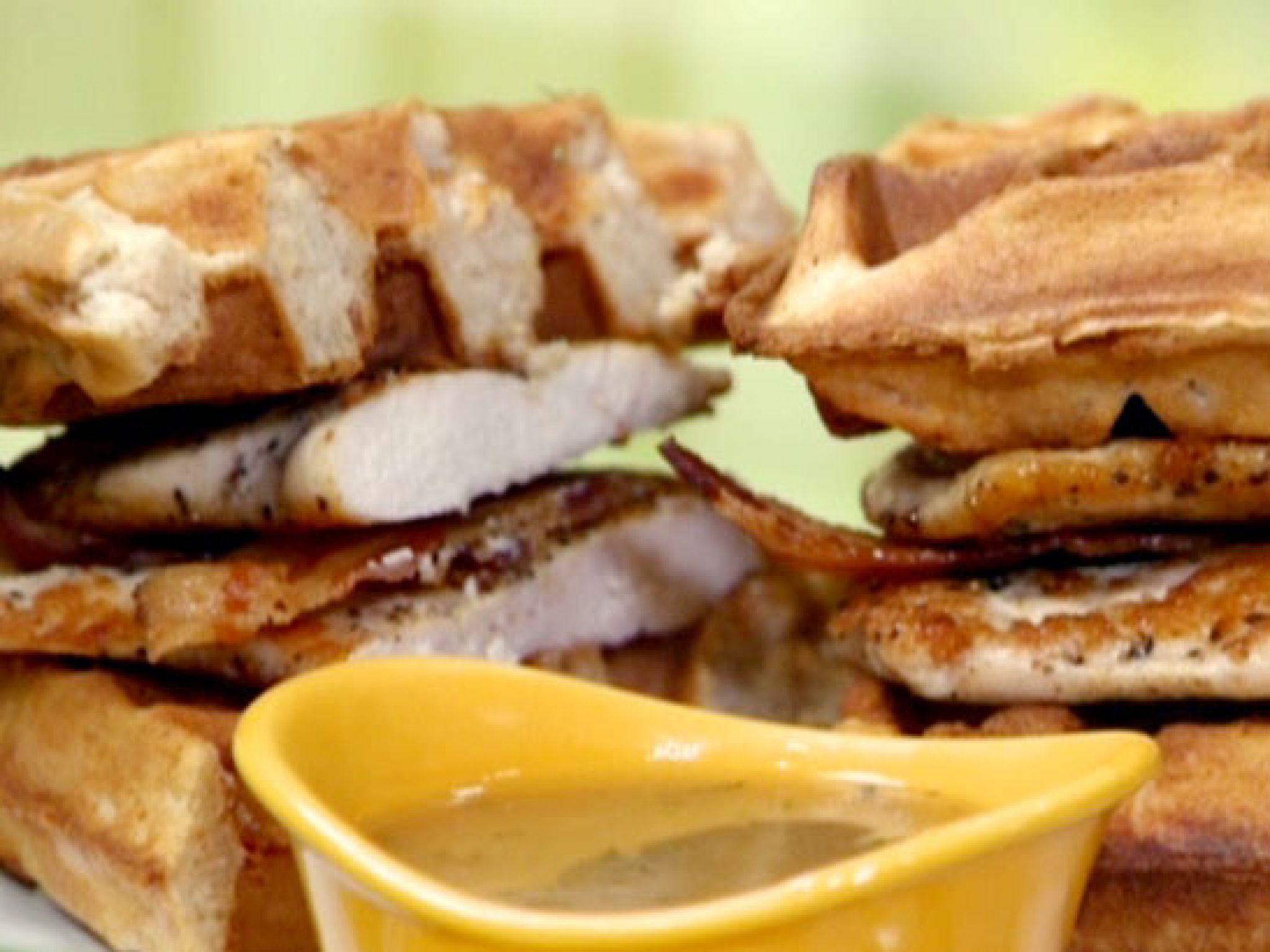 Chicken and waffle monte cristos with rosemarymaple gravy