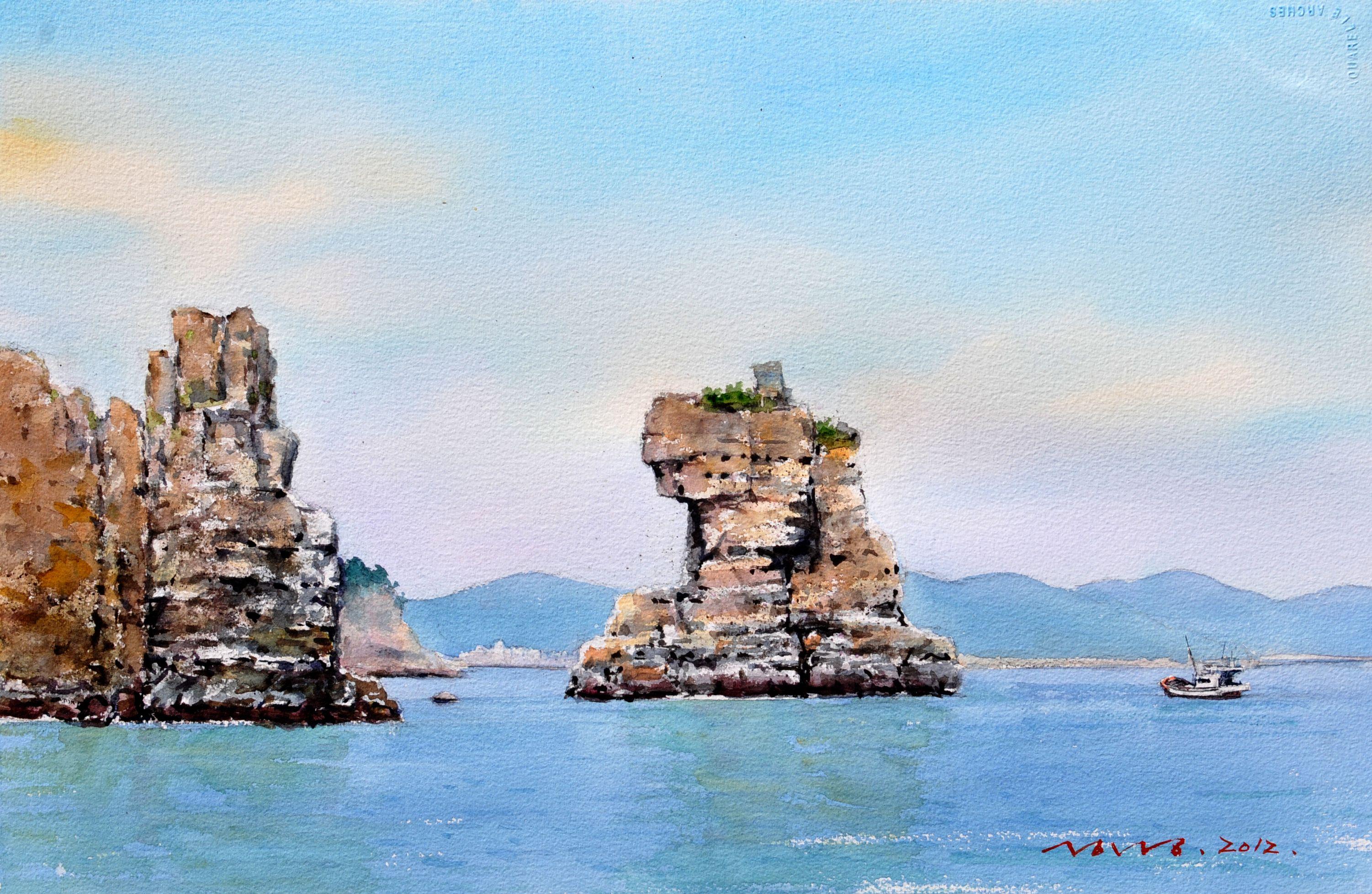 해금강 사자바위 53.0 x 40.9cm watercolor dn ppaper watercolor by Jung in sung