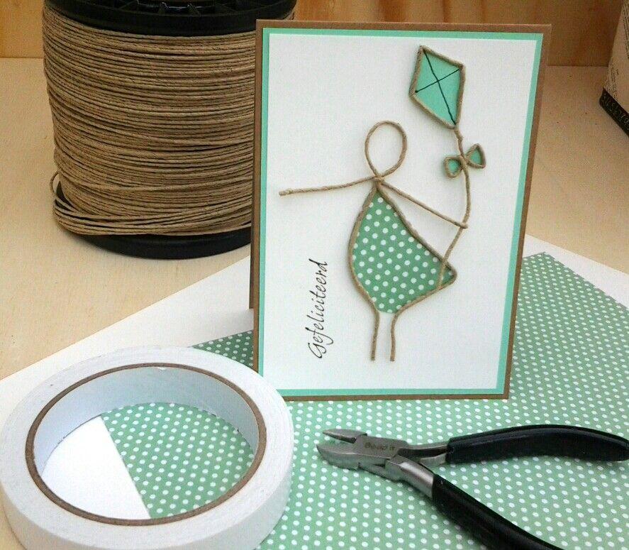 Door Inge papier + draad = kaart