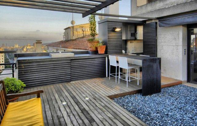 Cocina a medida para una terraza urbana terrazas y for Terrazas urbanas diseno