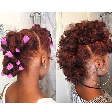 Pin Curl Fro-Hawk Protective Style #protectivestyles