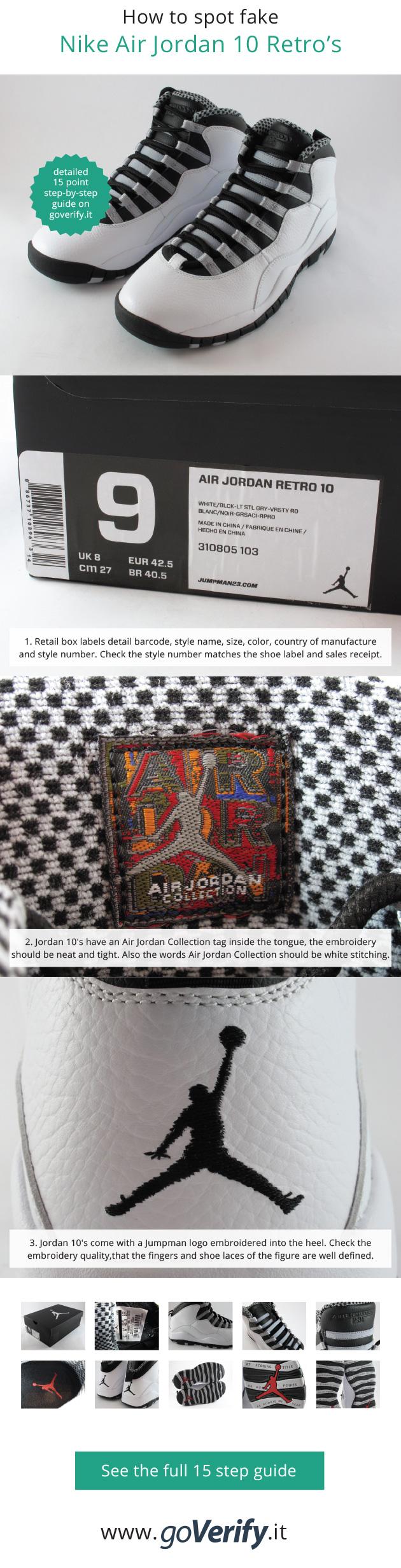 How to spot fake Nike Air Jordan 10 Retro in 15 steps