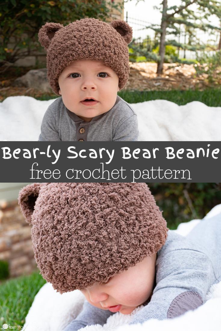 Bear-ly Scary: A Bear Beanie Free Crochet Pattern #crochetbear