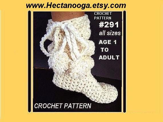 crocheted boot slippers  num. 291 SLOUCHIE BOOT  por Hectanooga, $4,99