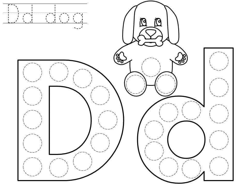 Do A Dot Letter D Printable Funnycrafts Dot Letters Letter D Crafts Do A Dot Prek letter d worksheets