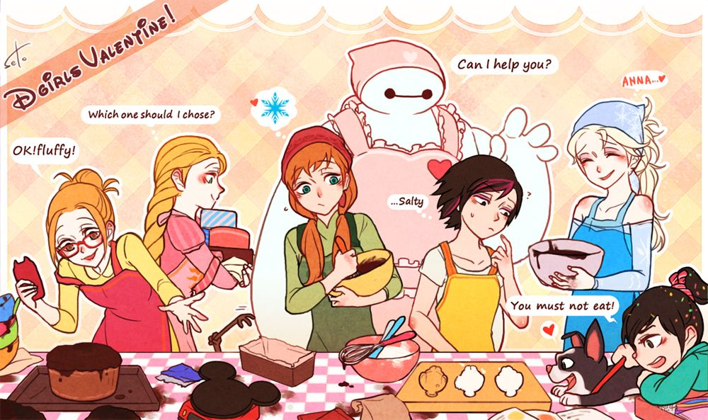 crossover - Honey Lemon, Rapunzel, Anna, Baymax, Gogo, Elsa, and Vanellope von Schweetz