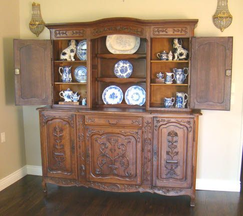 Antique Country French Buffet Server Hutch Carved Oak For Contemporary China Cabinets And Hutches Midcentury Living Room Dining Sideboard
