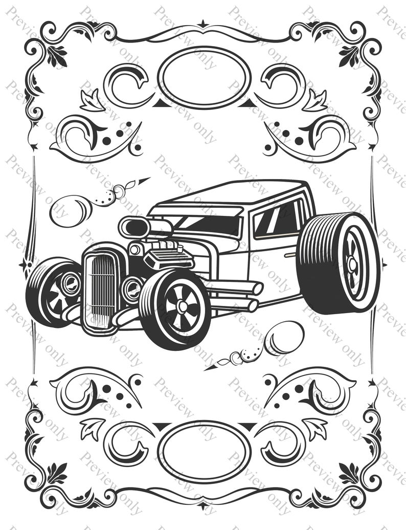 Muscle Cars Coloring Page Sheets 3 Pack Print and Color Vehicles Automobiles Vintage Classic Hot Rods