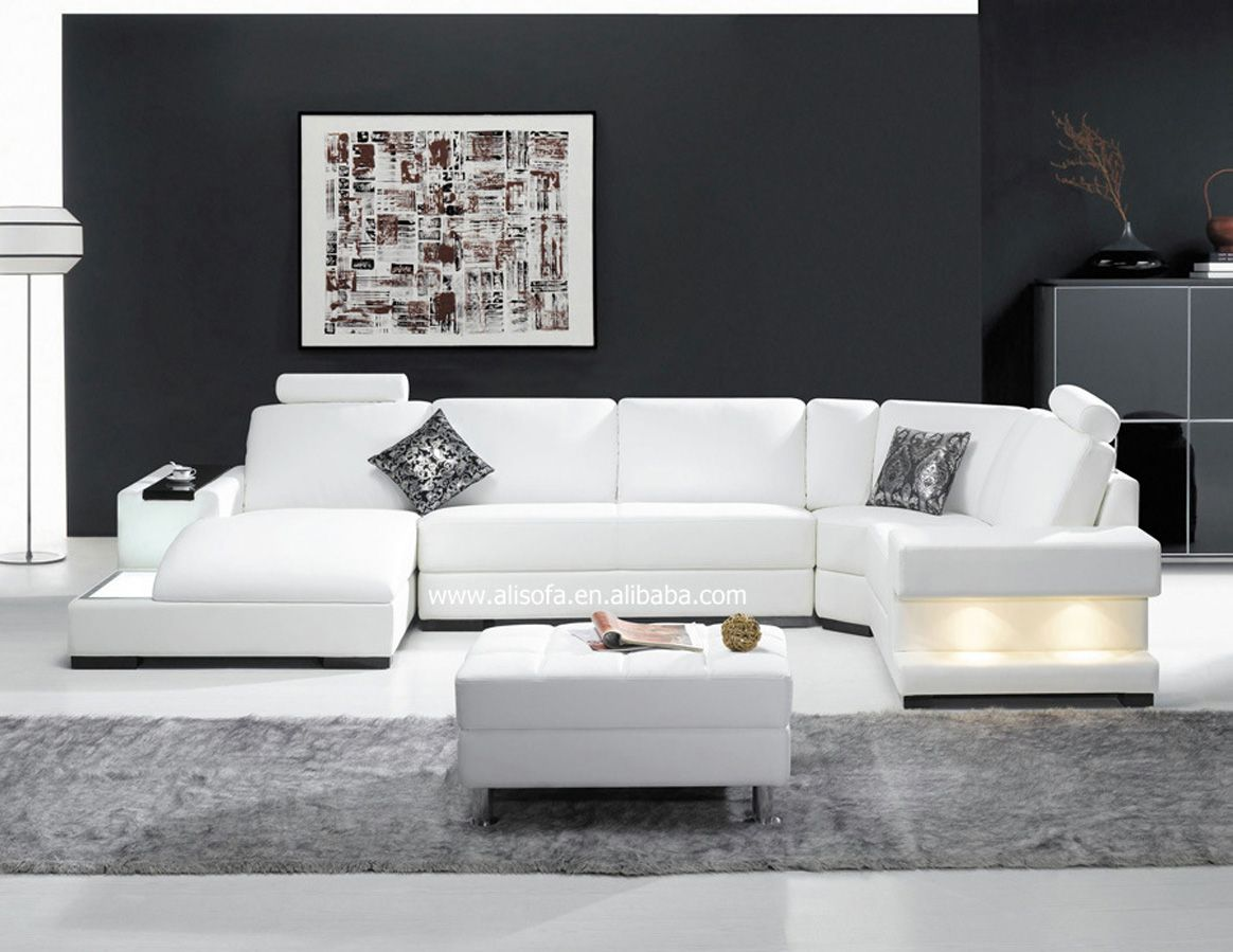 white sectional sofa black wall paint modern home furniture - Modern Furniture White