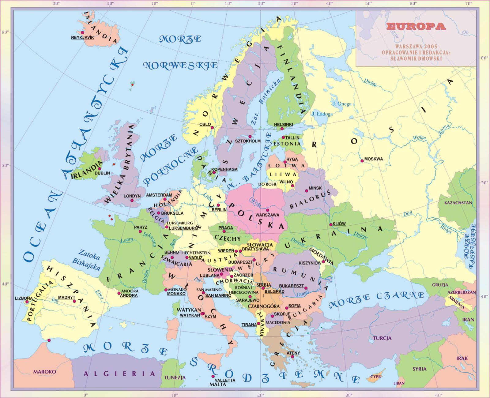 Mapa Polityczna Europy Mapa Edukacja Szkola