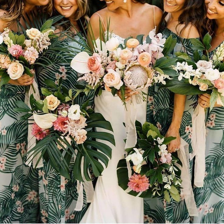 Wedding Flowers Jersey Channel Islands: Gorgeous Tropical Wedding Florals For Bride And Attendants