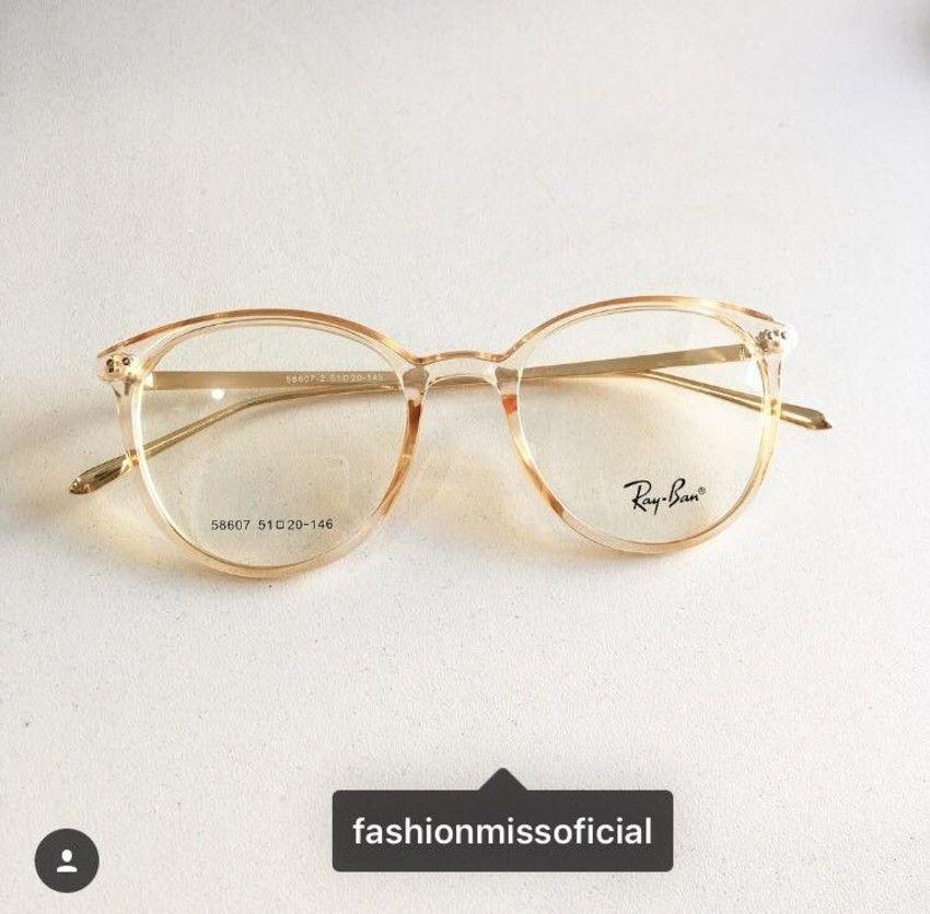 Armacao Para Oculos De Grau Rayban Transparente Dourado Armacoes