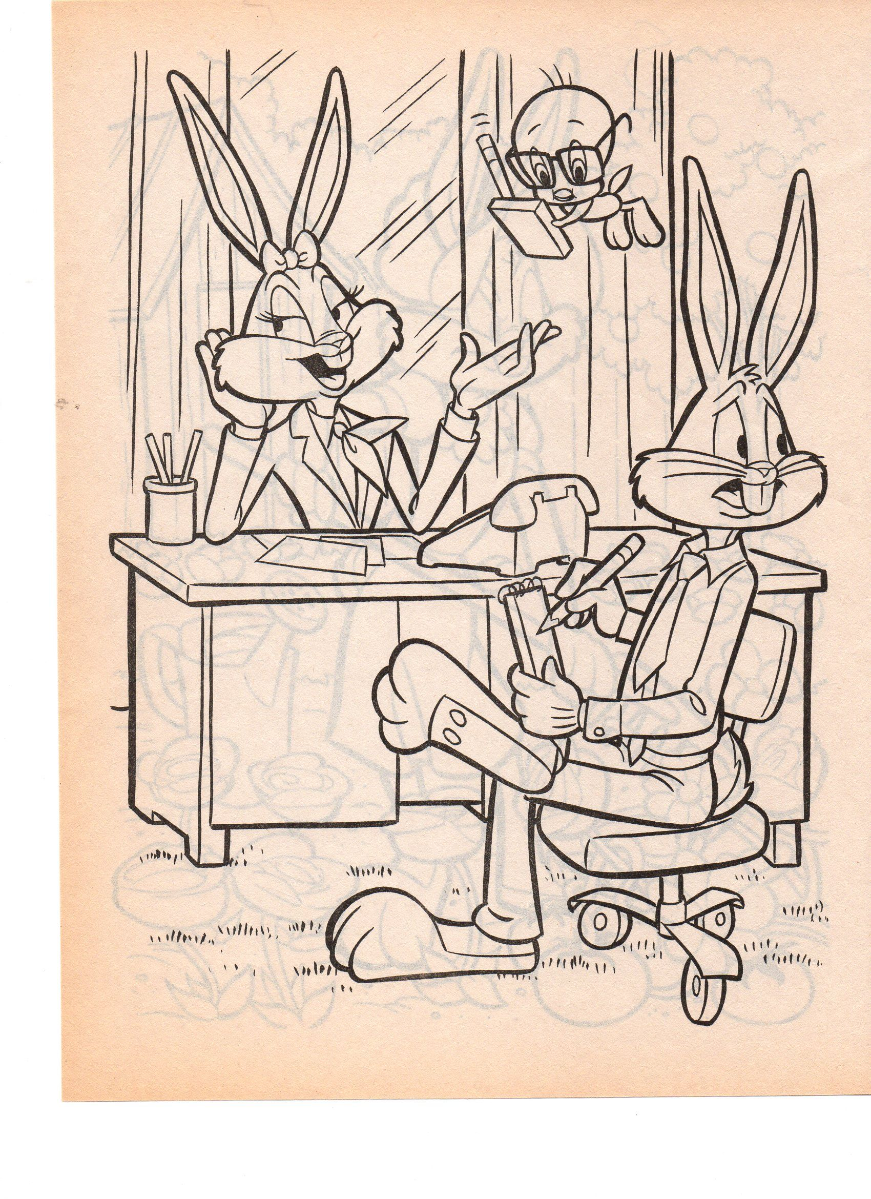 looney tunes bugs bunny tweety bird n honey bunny coloring