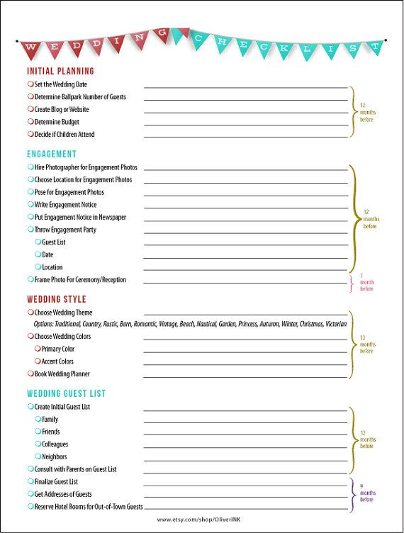 wedding checklist and timeline in red and tiffany blue 14 page