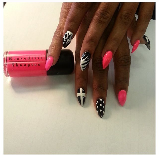 Pink white and black Fierce Cross nails = dope nail design ...