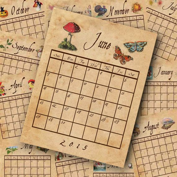 Calendar Vintage 2015 : Printable calendar old vintage paper newly by