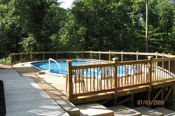 Nice oval wrap around deck above ground pool decks - Nice above ground pools ...