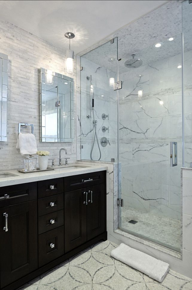 Bathroom Design Modern Bathroom With Dark Stained Cabinets Marble Flooring And Marble Tiling