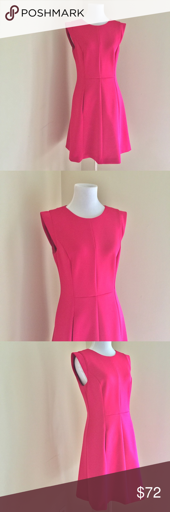 Vince Camuto Pink Fit And Flare Cap Sleeve Dress Capped Sleeve Dress Clothes Design Fit And Flare [ 1740 x 580 Pixel ]