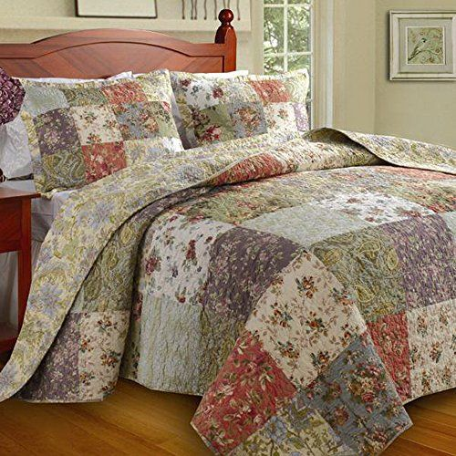 country cottage patchwork quilted 100 cotton reversible quilt rh pinterest ca