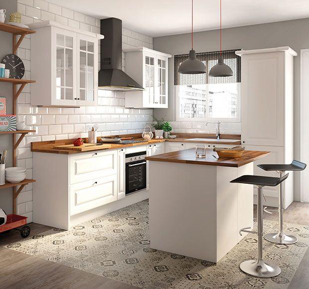 Una cocina luminosa y actual: los muebles blancos son tendencia ...