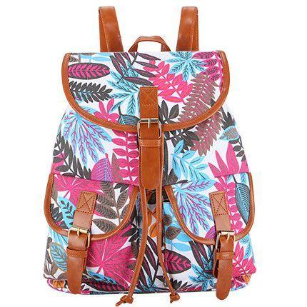 Large Leaves Print Vintage Rucksack Canvas Women Backpack School Bag