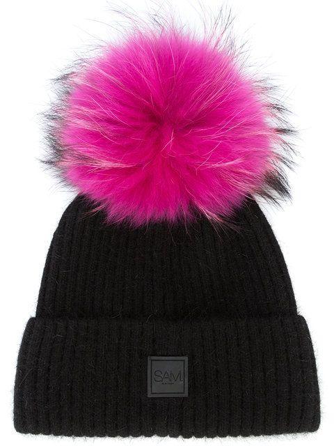 chunky wool knitted beanie - Pink & Purple inverni 43UiPln96a