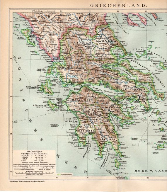 1894 Greece Antique Map Athens Skyros Corfu Zakinthos Andros